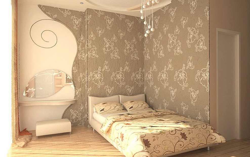 Дизайн комнаты обои цветы
